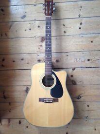 A lovely cared for electro acoustic guitar gig bag + new Elirix strings