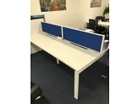 4 X position proffesional office desk white workstation with blue divider
