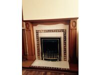 Pine fireplace surround and gas fire