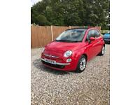 Red 2012 Fiat 500c 0.9L twin air lounge, 2Dr, one lady owner, very low millage, FSH, ZERO TAX