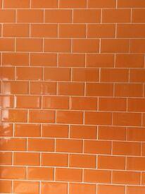 Orange metro ceramic tiles