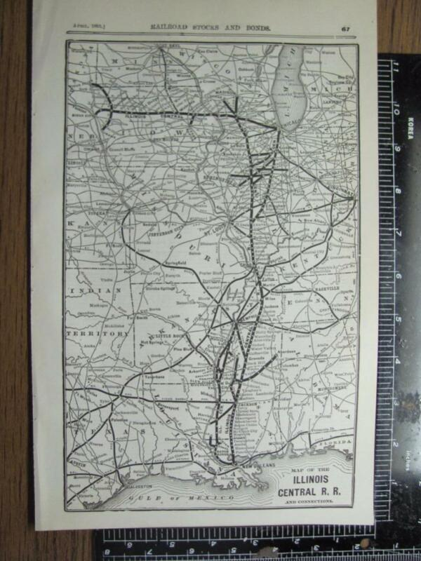 ANTIQUE ILLINOIS CENTRAL IC RR RAILROAD SYSTEM MAP PRINTED IN APRIL 1895