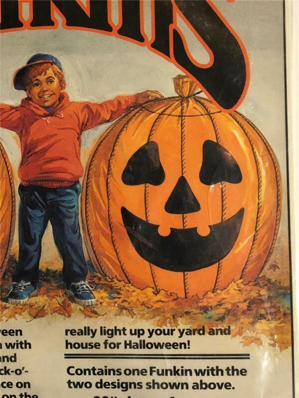 1990 Allied Funkins 3 Foot Tall Decorative Yard Leaf Bag Halloween PUMPKIN vtg