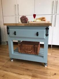 Bespoke kitchen island trolley with storage