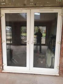 UPVC PATIO FRENCH DOORS WHITE DOUBLE GLAZED WITH VENTS 1960 WIDE X 2140 HIGH