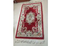 Wool Aubusson Chinese Heavy Quality Red Carved