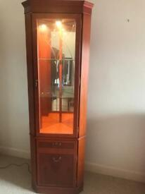 Yew Corner Display Cabinet