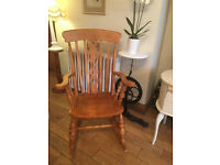 A LOVELY SOLID BEECH (NOT PINE) ROCKING CHAIR WITH FIDDLE DESIGN TO BACK SUPER CONDITION