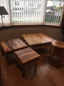 Solid mixed wood tables and drawer unit