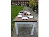 Rustic wooden kitchen dining table. Long galley/shabby chic/farmhouse/white/vintage. Local delivery