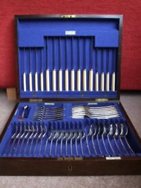 WALKER & HALL CANTEEN OF SILVER PLATED CUTLERY IN MAHOGANY BOX 57 PIECES