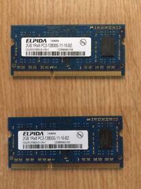 MacBook and iMac RAM 4GB (2GB x2) DDR3 PC3-8500 1066 MHz (Hynix), 1600 MHz (Epida) memory modules