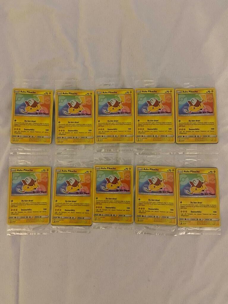 10x Ashs Pikachu Pokemon Sammelkarte OVP sealed
