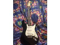 fender stratocaster, strat, black, Mexican,
