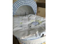 Brand new blue Moses basket