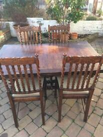 Green man solid oak table and four chairs