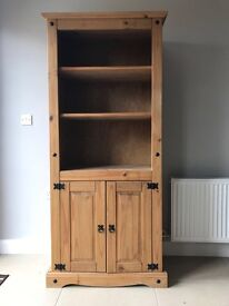 Mexican Pine Book Shelf With Cupboard