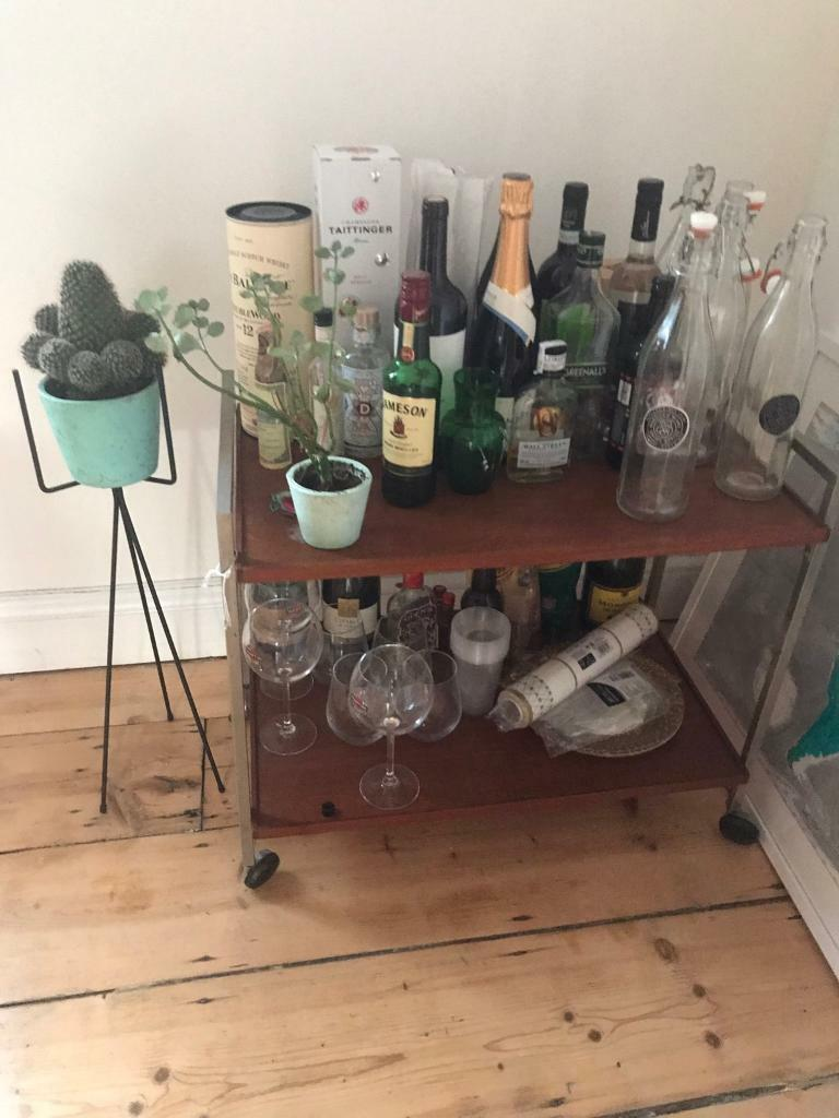 Bar cart (moving salein Hackney, LondonGumtree - Wooden and metal bar cart on wheels, booze not included. £10 pick up only!