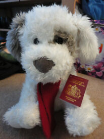 BHS Large Soft Toy Patch Puppy Dog with Passport and Red Scarf
