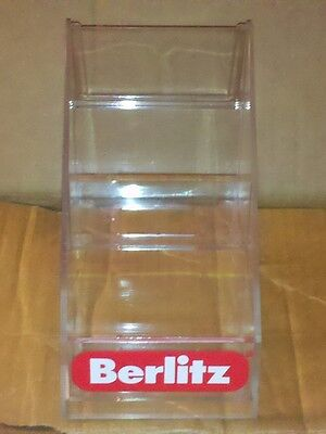 Berlitz Acrylic 2 Two Tier Interlocking Countertop Brochure Holder. New In Box