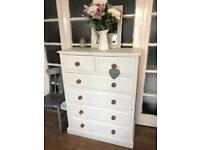 Tallboy Free Delivery Ldn 🇬🇧solid wood chest of drawers SHABBY chic