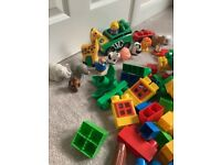 Large building blocks with farm and safari animals