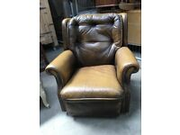 70's leather wing back chair