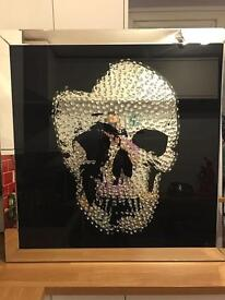 Dwell skull framed mirror picture