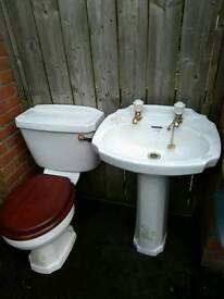 Unusual basin and toilet set