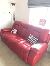 Great condition 3 seater red leather electric reclining sofa