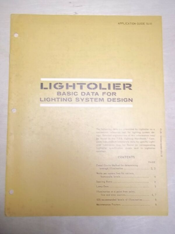 Vtg Lightolier Catalog/Specification Guide~Lighting Systems