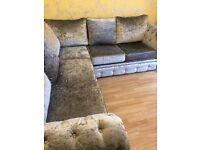 Beautiful crushed velvet silver corner Sofa