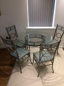Elegant Glass &Metal Dining Table + 4 Matching chairs