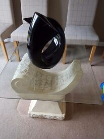 Beautiful solid marble & glass occasional table