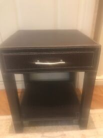 Small side table dark brown mock croc one draw great anywhere in house