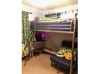 Boys Bunk Bed Frame including Fold Out Chair & Desk