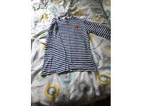 Long sleeved medium commes des garçon T shirt. Blue and white striped.