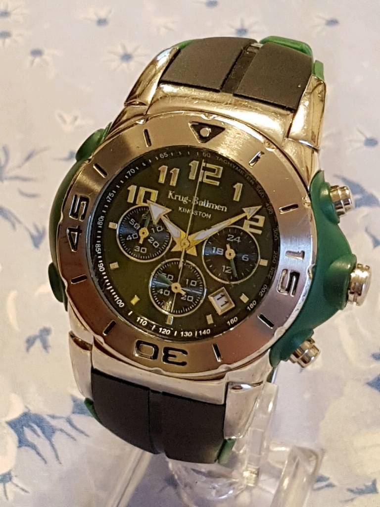 Brand new in unbranded box unusual Krug Baumen Quartz Chronograph Men's Watch, superb !