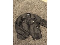 Girls black leather look jacket Age 12-13