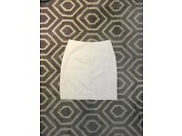 Missguided white leather skirt