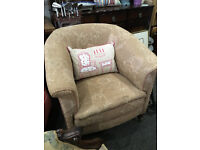 Pleasing Little Antique Victorian Heavy Padded Tub Armchair