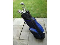 Set of Men's Right-Handed Golf Clubs, Golden Bear Irons + Woods, Putter and Top Flight Bag