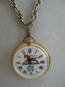 STUNNING OLD VINTAGE 30-INCH HORSE WATCH on a HEAVY TWISTED GOLDTONE CHAIN