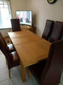 Solid Oak Dining Table, and 6 Chairs