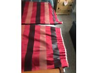 Red Striped Lined Curtains very very heavy material. 104 inches wide x 72 inches drop