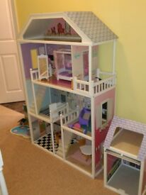 Barbie sized Dolls house with 4 floors, swimming pool and separate garage.