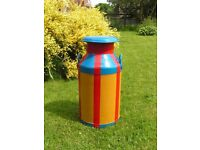 Painted Milk Churn - Water butt - Flower pot - container - lid -