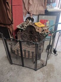 Metal Open fire basket and back plate