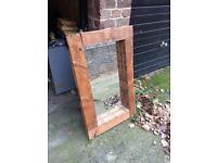 Vintage solid reclaimed wood mirror