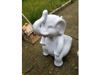 Ceramic White Elephant Figurine with Raised Trunk- Garden Ornament/ Plant potter